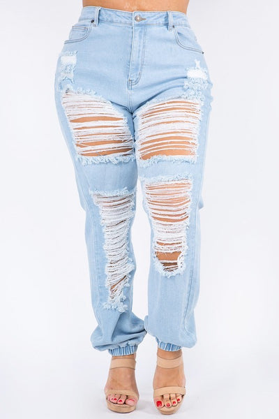 High Waist Distressed Denim Jogger with Button Closure