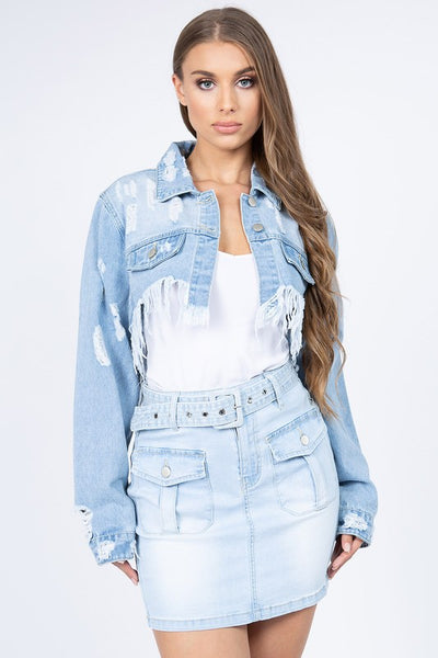 Distressed Jacket with Frayed Hem