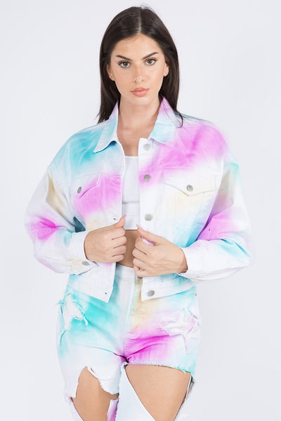 Colorful Distressed Denim Jacket Button Closure Front