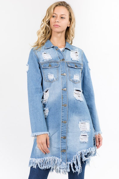 Frayed Bottom Distressed on Back Denim Jacket