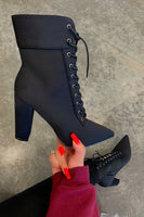 Thick Heel Side Zip Lace Up Pointed Toe Bootie