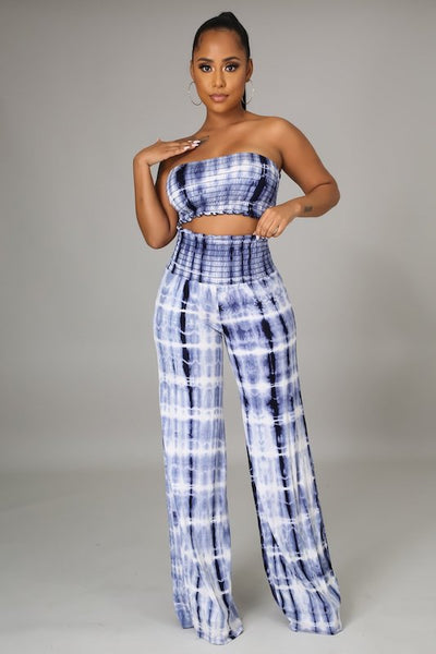 Tie Dye Elastic Shirring Tube Top and Pants Set