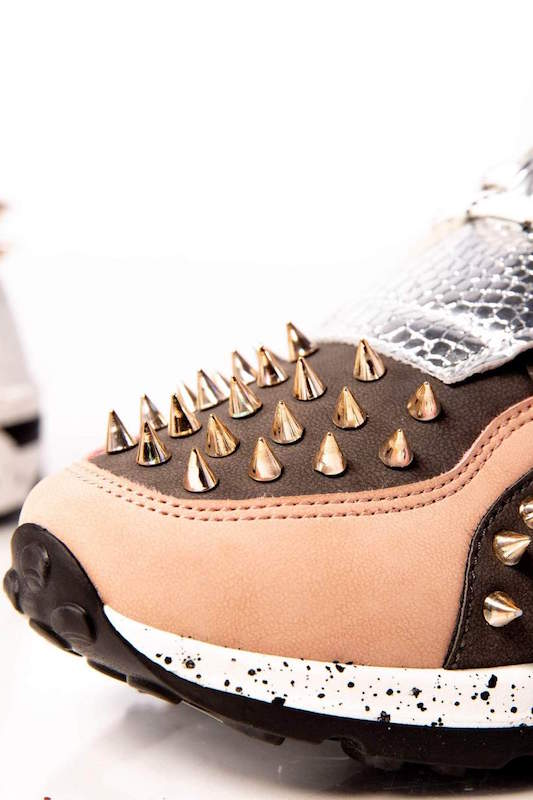 Lace Up Sneaker with Spikes