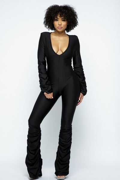 V Neck Shirred Long Sleeve Jumpsuit with Shirred Legs