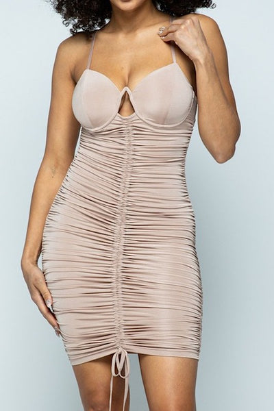 V Wire Bustier Mini Dress
