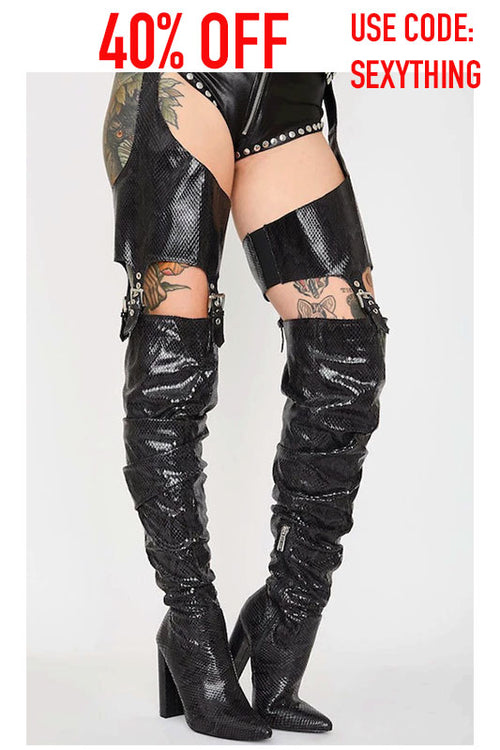 Snake Print Boot with Garter Belt