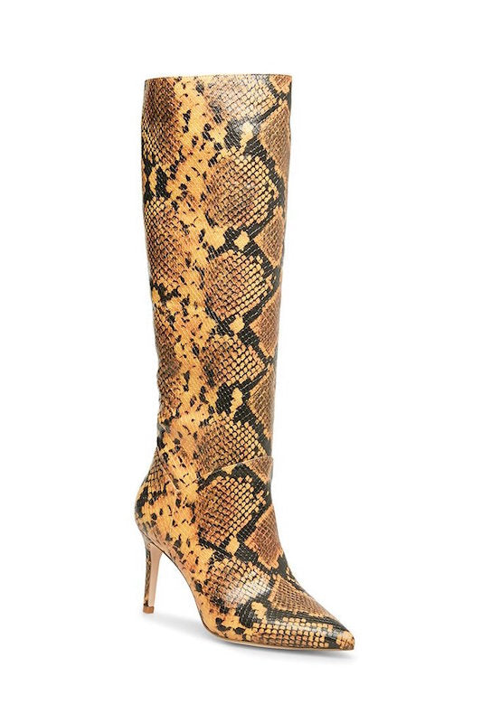 Steve Madden Snake Print Knee High Boot with Heel