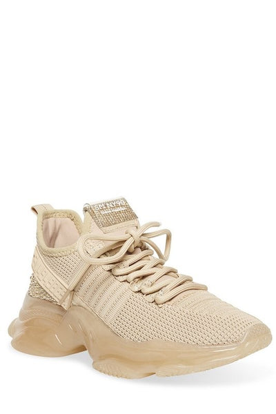 STEVE MADDEN Lace Up Sneakers with Rhinestone Details