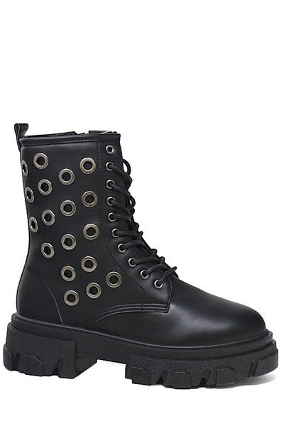 Short Combat Boot With Eyelets
