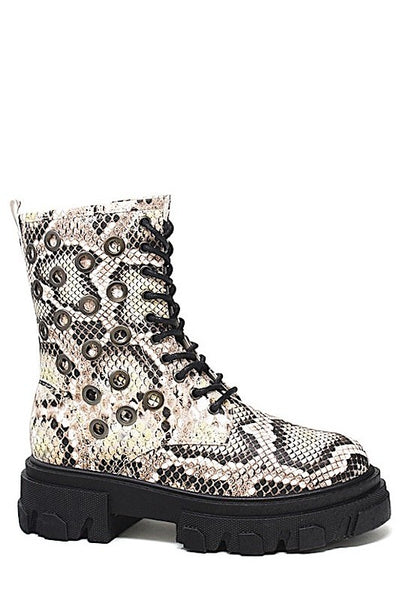 Short Snake Combat Boot With Eyelets