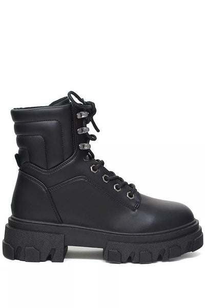 Short Heel High Top Combat Boot