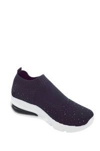 Slide On Knit Sneaker with Rhinestones