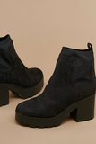 Rounded Toe Chunky Platform Heel Bootie