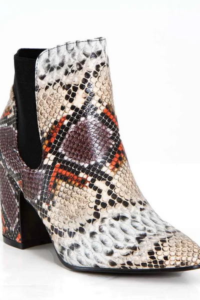 Snake Flared Heel Bootie with Elastic