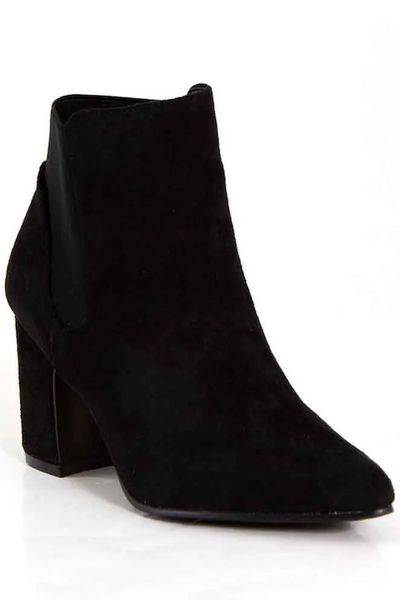 Flared Heel Bootie with Elastic