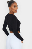 Long Sleeve Ruched Sides Crop Top
