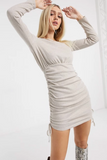 Long Sleeve Ruched Side Boat Neck Mini Dress
