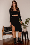 Long Sleeve Crop Top and Midi Skirt Set