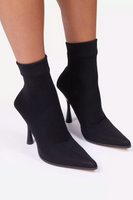 Pointed Toe Sock Bootie with Thin Cone Heel