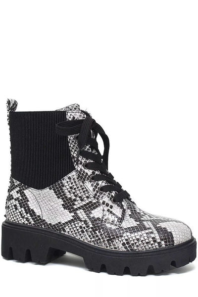 Chunky Sole Lace Up Snake Combat Bootie