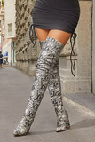 Snakeskin Thigh High Tall Thick Heel Bootie with Lace Up Back