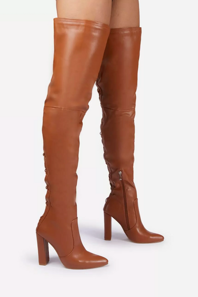 Thigh High Tall Thick Heel Bootie with Lace in Back