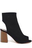Open Toe Thick Heel Canvas Mules