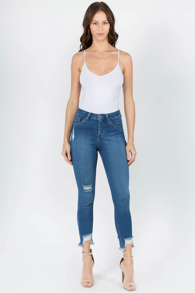 High Waist Distressed Hem Skinny Jeans