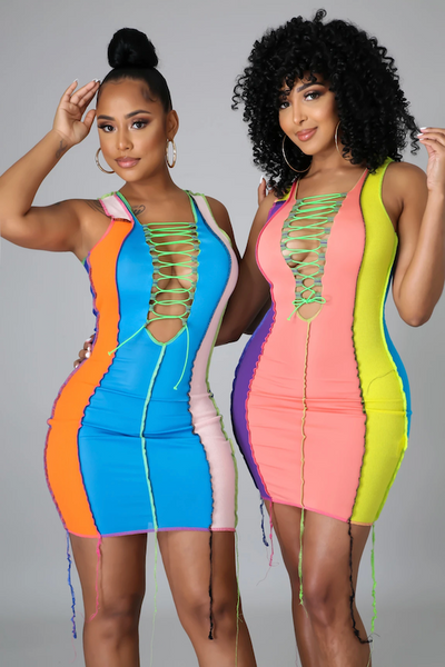 Colorful Lace Up Dress