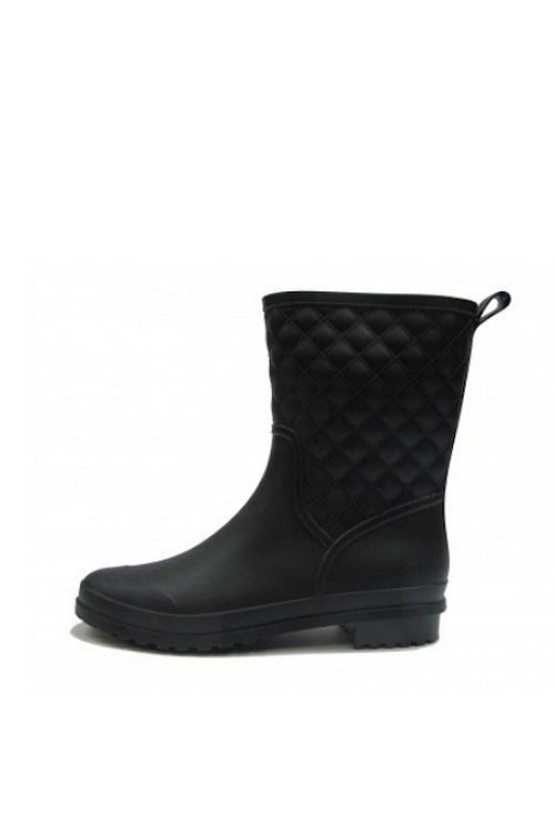 Quilted Mid Calf Rain Boot