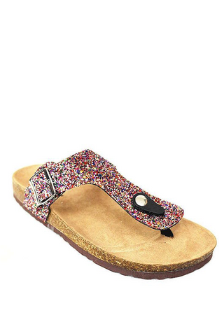 Glitter Thong Slip On Sandal