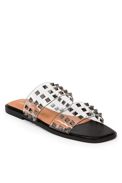 Clear Banded Sandal with Stones