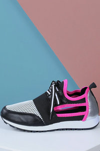 Lace Up Sneaker with Side Cutouts