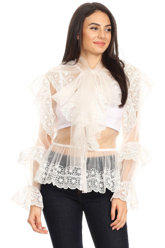 Mesh Flower Detail Ruffle Blouse