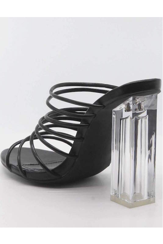 Strappy Clear Thick Heel