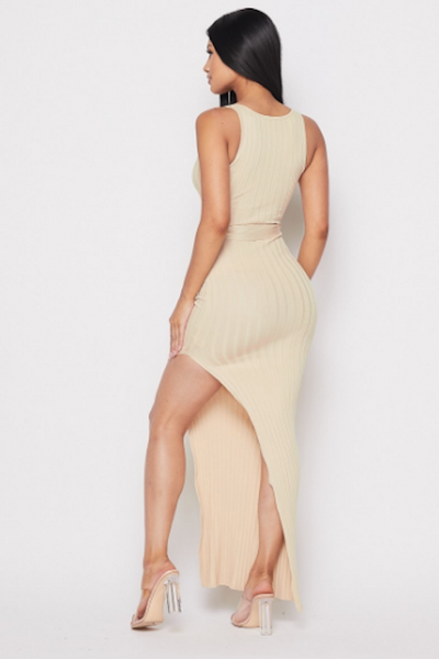 Sleeveless Dress with Belt & Slit