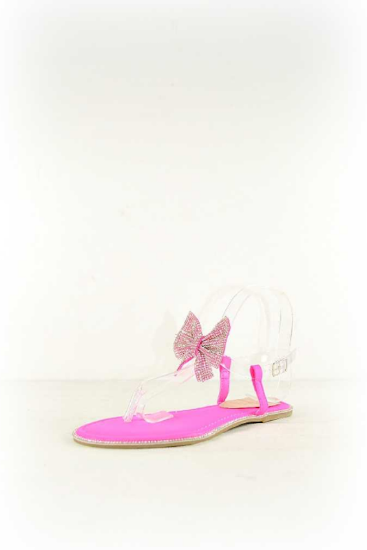 Thong Clear Ankle Strap Sandal with Bow