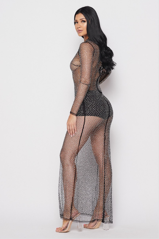 Studded Long Sleeve Mesh Dress