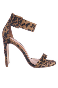 Thick Ankle Strap Leopard Heel