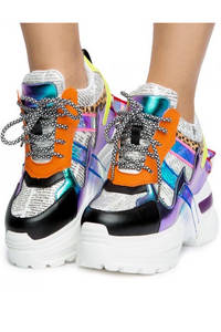Newspaper Detail Wedge Sneaker