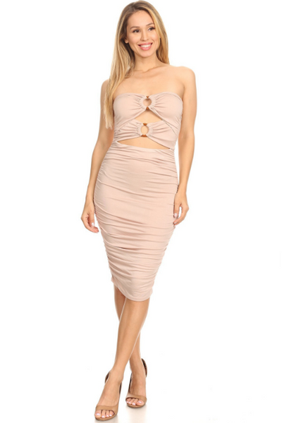 Ruched Cut Out Tube Dress