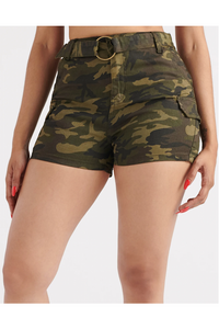 High Rise Camo Cargo Short with Belt