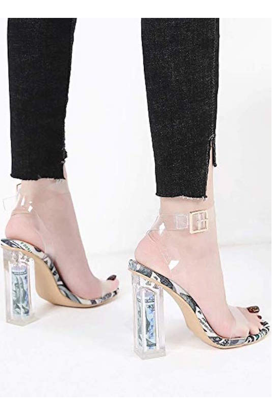 Clear Strap Thick Dollar Heel