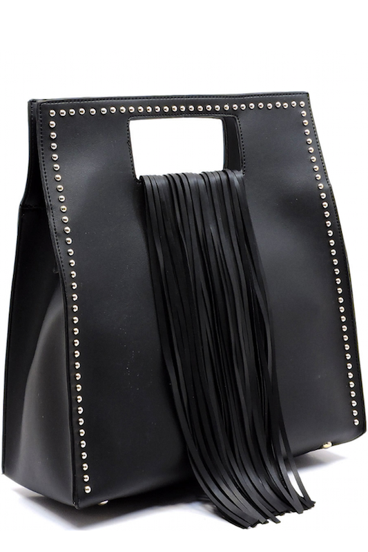 Studded Fringe Box Handbag