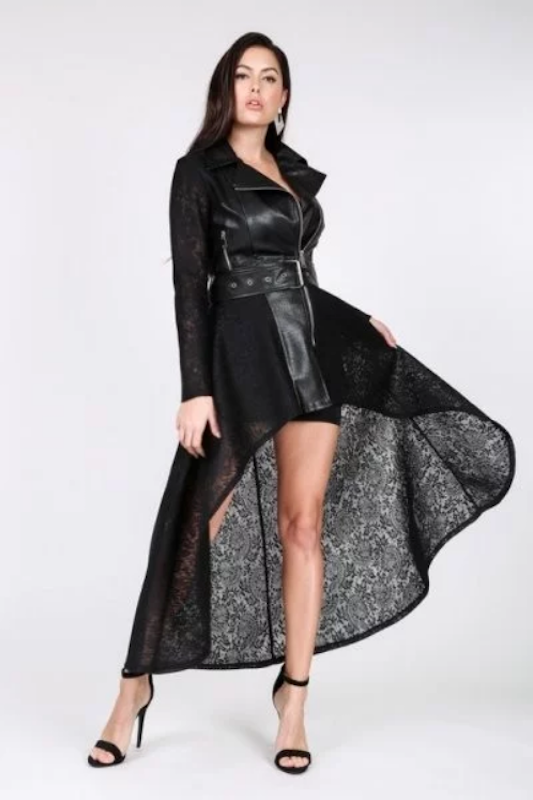 Faux Leather Body Lace Hi-Low Jacket