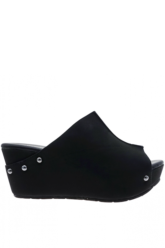 Open Toe Black Wedge Sandal