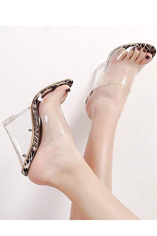 Clear One Band Leopard Heel