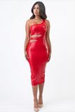 One Shoulder PU Dress with Side Cutout