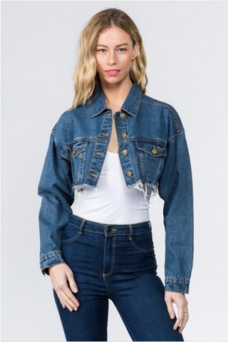 Half Denim Crop Jacket
