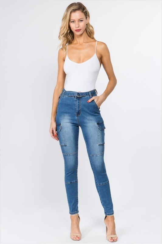 High Rise Jeans with Belt